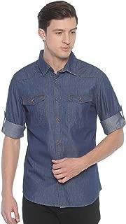 Raa Jeans Men's Denim Dark-Blue Solid Full-Sleeves Shirt