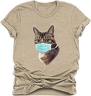 Dainzusyful Women Cartoon Cat Print Tops 2020 Newest Summer Short Sleeve O-Neck T-Shirts Blouse Tee Tunic