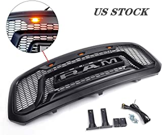 Replacement Grill for Dodge Ram 1500 2013-2018 Rebel Style, ABS Honeycomb Bumper with 3 Smoke Amber LED lights, R&A&M Letters,Matte Black
