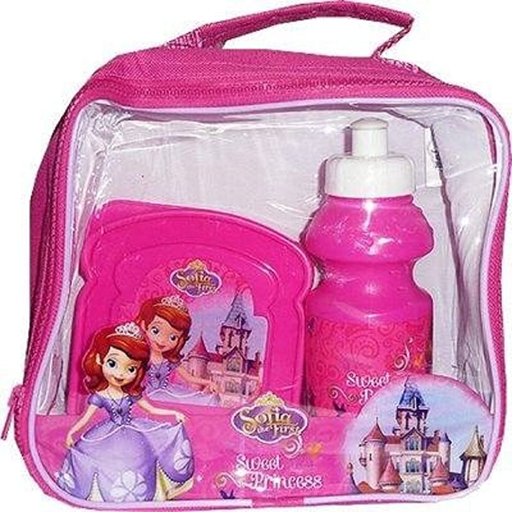 Girls Character Lunch Bag Kit Set with Water Bottle & Sandwich Box (Sofia the first Lunch bag Set)