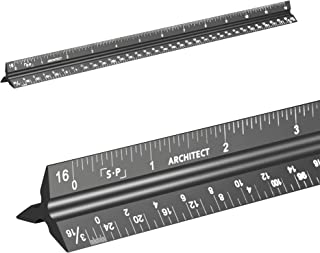 Simple Precision Architectural Scale Ruler (Laser-Etched) Solid Aluminum Core | 12'' Triangular Architect Ruler with Imperial Measurements