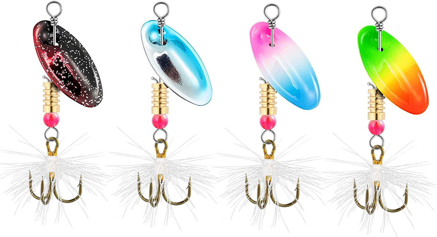 Dr.Fish 4 Pack Wire-Through-Blade Choice Spinner 1 8oz Finally popular brand Rooster Kit Tail