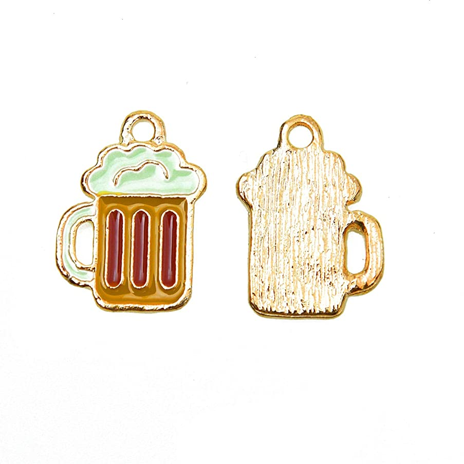 Monrocco 10pcs Enamel Beer Cup Charms Pendants for Bracelet Jewelry DIY Making