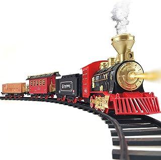 Train Set - Electric Train Toy for Boys Girls w/ Smokes, Lights & Sound, Railway Kits w/ Steam Locomotive Engine, Cargo Ca...