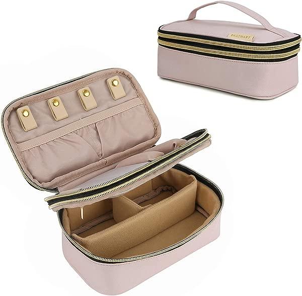BAGSMART 小号旅行珠宝收纳盒双层首饰袋戒指手镯耳环项链柔软粉色