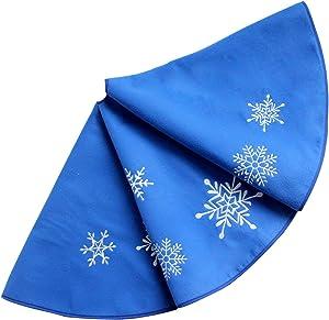 "SORRENTO Snowflake Embroidery , Blue Polar Fleece Christmas Tree Skirt 36"""