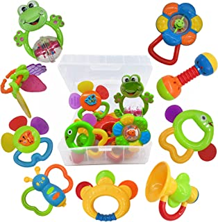 9pcs Baby First Rattle Teether Toy Gift Set with Storage Box for Infant Newborn Baby Girl 3 6 9 12 18Month Pink