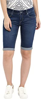 KVL Womens Cotton & Elastane Woven Solid Bermuda Denim Shorts - Blue