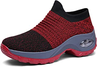 AIRAVATA Chaussures Femme Baskets Chaussures de Mesh Air Cushion Running Randonnées Légères Talon Haut Chaussure Compensée...
