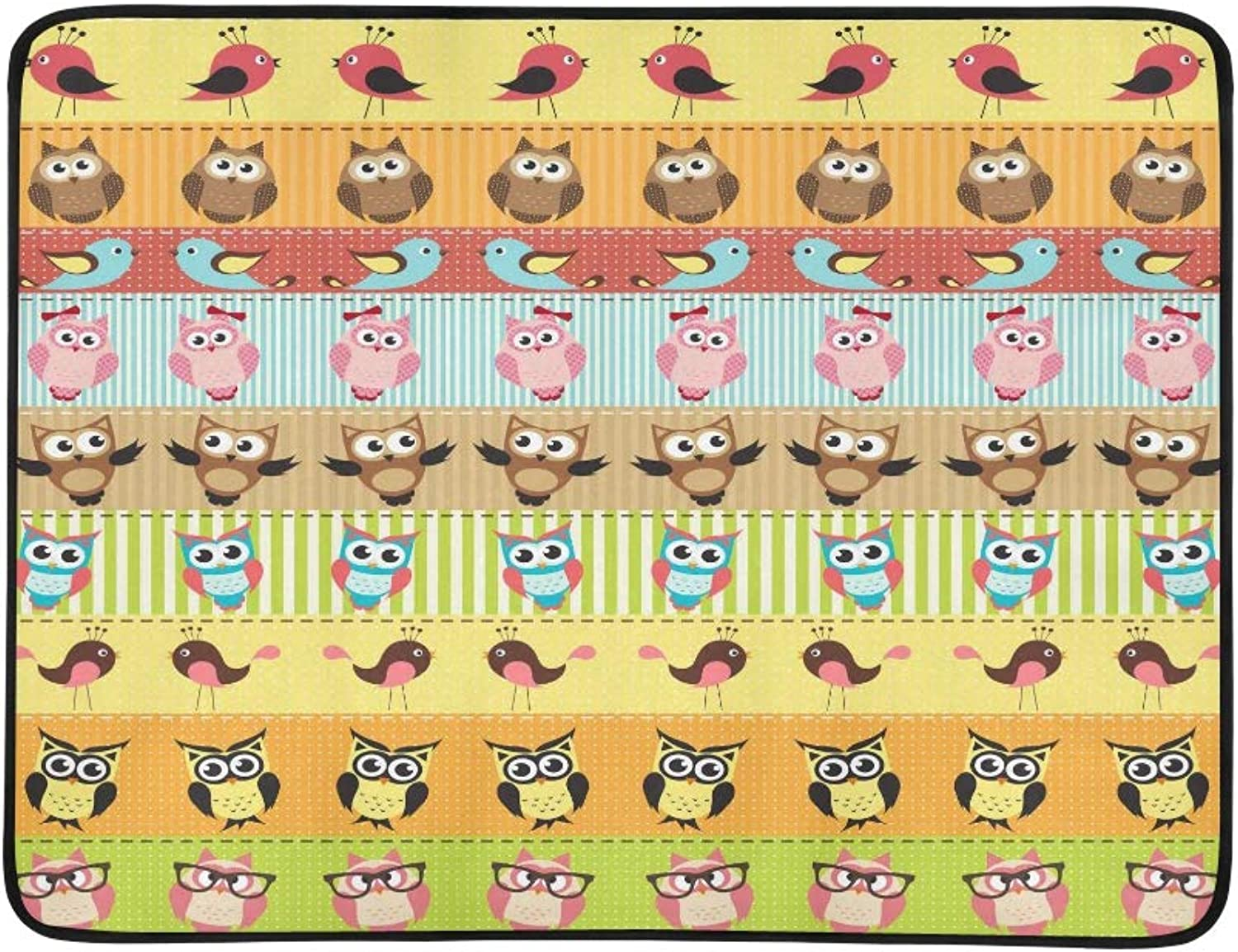 Cute Owl Bird Cartoon colorful Stripe Pattern Portable and Foldable Blanket Mat 60x78 Inch Handy Mat for Camping Picnic Beach Indoor Outdoor Travel