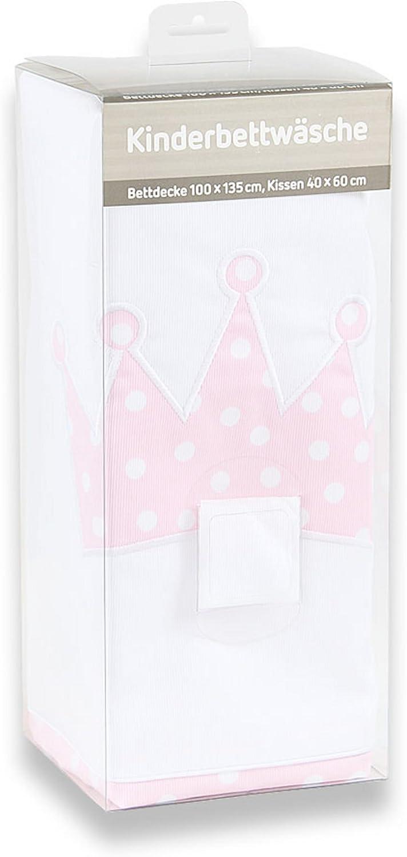 Babybay Parure de lit pour enfant Motif cœurs Bleu clair à pois blancs Couronne à pois roses et blancs.