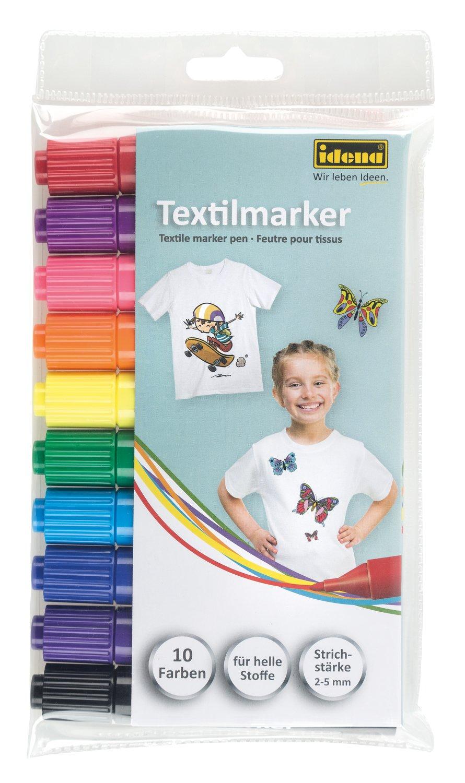 Idena 60035  - ライトファブリックテキスタイルマーカー、10パック+ 1子供のポケットミラークッキーTextilmarker様々な色