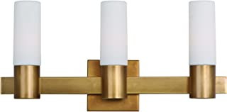 Maxim 22413SWNAB Contessa 3-Light Bath Vanity, Natural Aged Brass Finish, Satin White Glass, CA Incandescent E12 Incandescent Bulb , 3W Max., Dry Safety Rating, 2700K Color Temp, Standard Triac/Lutron or Leviton Dimmable, Bubble Glass Shade Material, 189 Rated Lumens