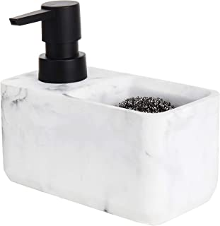 MyGift Faux Marble White Resin Dish Soap Dispenser with Sponge Holder
