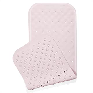 Yimobra Original Rubber Bath Tub and Shower Mat Long 37 X 14.2 Inches, Soft and Comfortable, Non-Slip with Suction Cups, Drain Holes, Phthalate Free, Machine Washable, Bathroom Mats, Pink