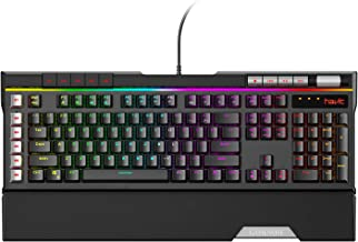 Havit RGB Mechanical Gaming Keyboard LED 120 Keys Ergonomic Detachable Wrist Rest Wired Keyboards Cherry MX Blue Equivalent Switches with 6 Macro Definition Keys Multimedia Volume Control for PC Game