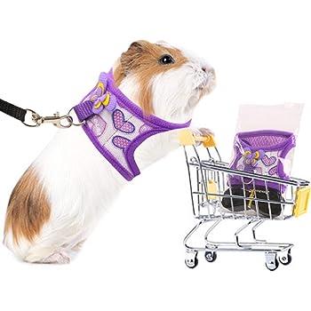 Preferhouse Hand Made Harness Vest and Leash Set for Hamster Rats Iguana Bearded Dragon Baby FerretSoft&Adjustable