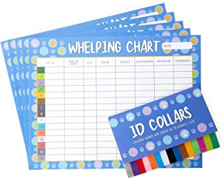 Puppy Whelping Collars and Dog ID Charts, Pet Supplies in 15 Colors (20 Pieces)