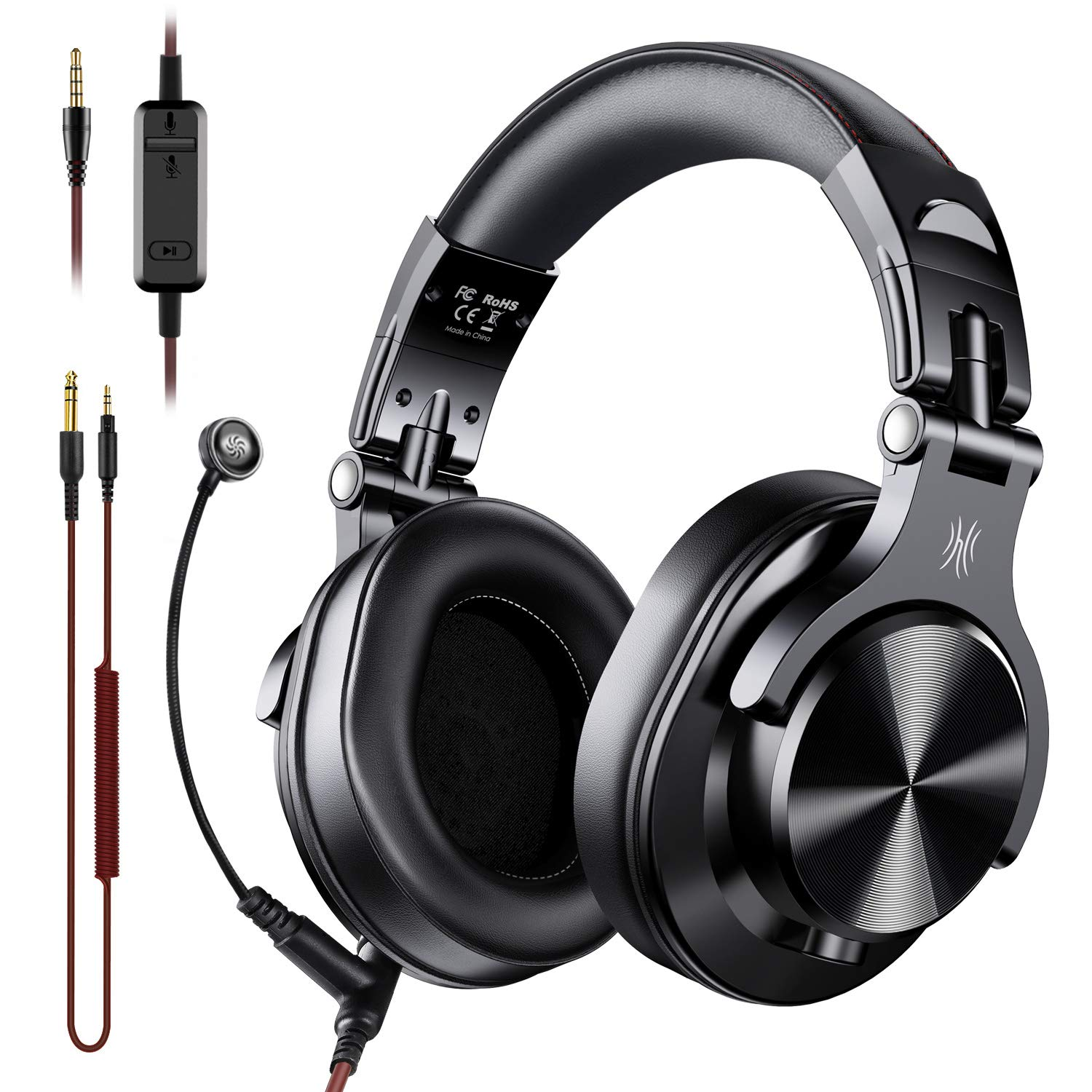 Amazon Com Oneodio A71 Over Ear Headsets With Boom Mic Ps4 Xbox One Pc Laptop Wired Stereo Headphones With On Line Volume Share Port Headsets For Gaming Office Phone Call Dj Electronics