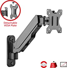 SIIG Aluminum Gas Spring Full Motion Ergonomic Single Arm Monitor Wall Mount - Heavy Duty Holds 17 to 32 Screen, up to 17.6lbs - Single VESA 75/100m