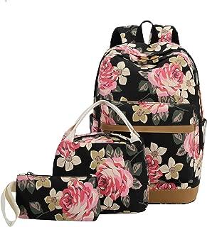School Backpack Girls Teens Bookbags Set 15 inches Laptop Bag Kids Lunch Tote Bag Clutch Purse (Big Floral - Black)