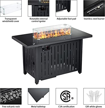 43 in Propane Fire Pit Table,Fire Pit Table with Glass Wind Guard,60,000 BTU Auto-Ignition Gas Firepit,CSA Certification and