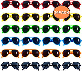Kids Sunglasses Party Favors, Aviator Sunglasses in Bulk 24 Pack for Kids, Pool Party Favors, Goody Bag Stuffers, Beach Party Toys, Fun Gift for Children Birthday & Graduation Party Supplies