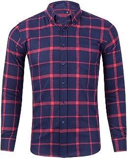 Camiseta a cuadros para hombre, de corte simple, informal, ajuste regular, cuello vuelto hacia abajo, ropa clásica de prim...