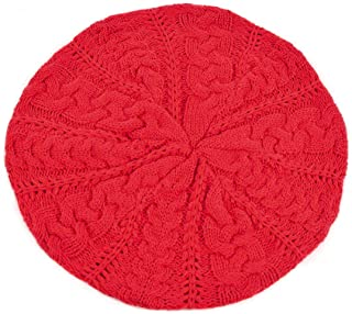 BG Soft Lightweight Crochet Beret for Women Solid Color Beret Hat - One Size Slouchy Beanie