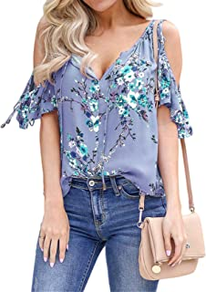 SZIVYSHI Short Sleeve Tie Front Deep V Neck Cut Out Cold Open Shoulder Ruffled Ruffle Hem Floral T-Shirt Tee Blouse Shirt Top