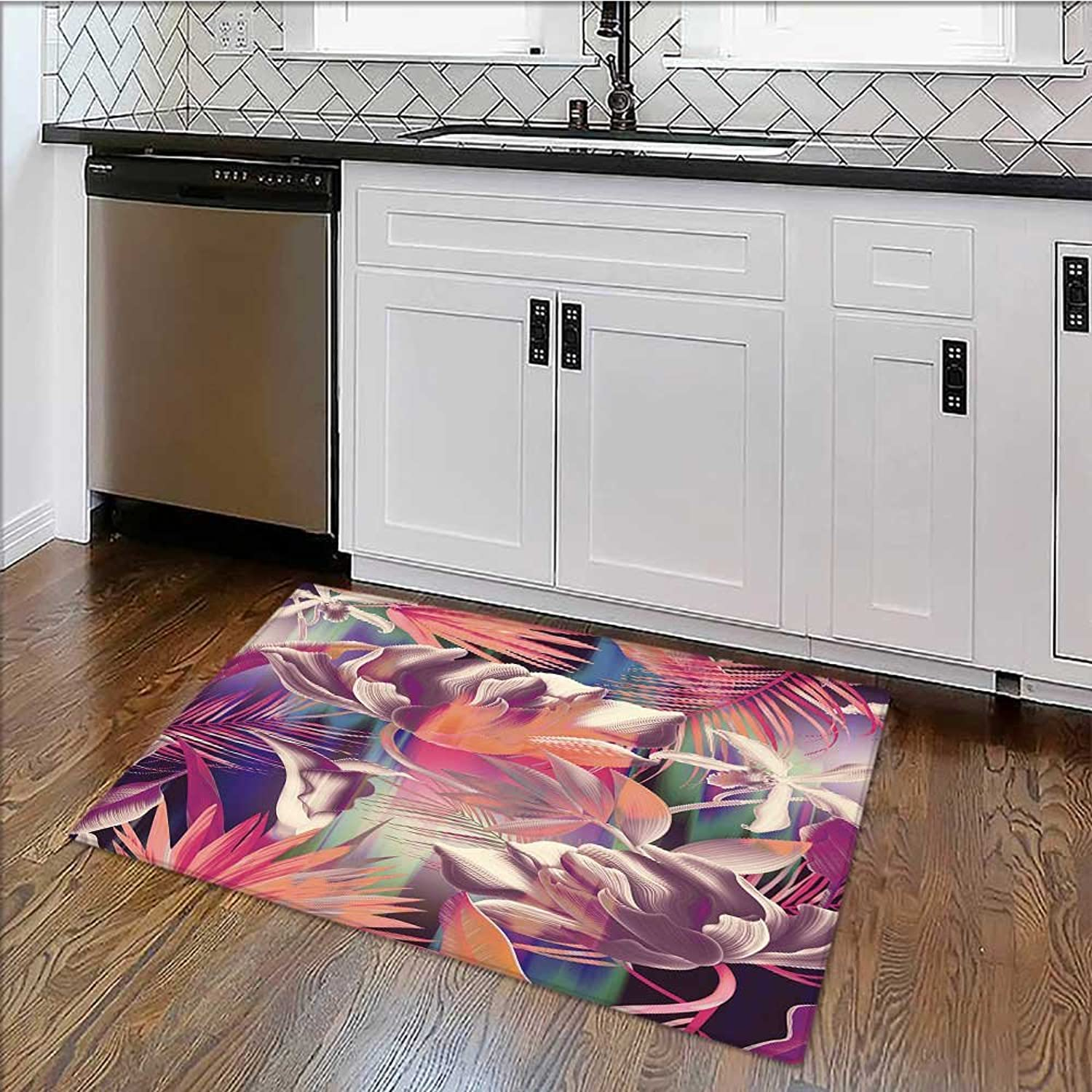 Durable Rug Tropical Flower Plant and leafbackground E x tra Absorbent W39 x H20