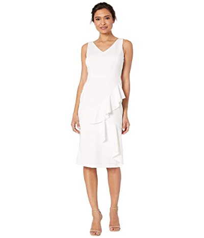 Maggy London Solid Scuba Cocktail Sheath with Ruffle Detail (White) Women