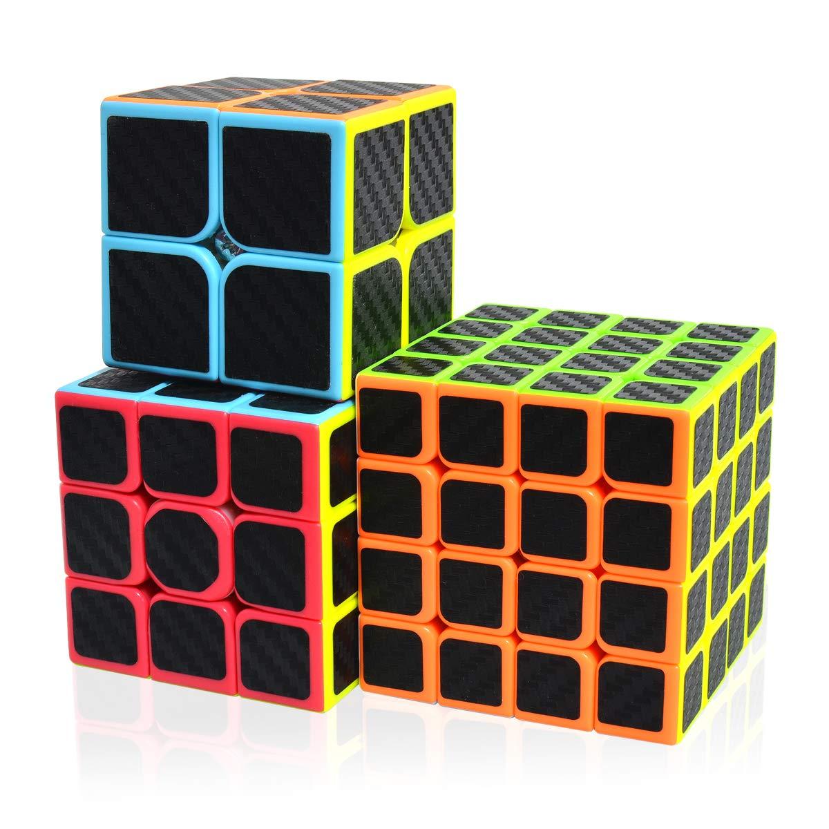 Maomaoyu Cubo Magico Pack, Speed Cube 3x3+2x2+4x4, Cubo de la Velocidad Fibra De Carbono Caja de Regalo de 3 Piezas Set Negro: Amazon.es: Juguetes y juegos