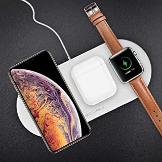 Wireless Charger for Watch and Phone, Fast Wireless Charging Stand 3 in 1 Compatible with Iwatch 4/3/2 and Airpods, iPhone Xs/XS MAX/X/8/8 Plus, Samsung Galaxy S9/S9/S8/Note8 (White)