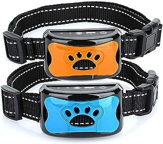 無駄吠え防止2個セット 首輪 全自動 充電式 振動 警告音 IPX7防水 LCDディスプレー 7 段階感度調整 ペットトレーニング 犬の訓練首輪 安全 安眠妨害解決 犬しつけ首輪 愛犬しつけ用バークコントロール 小中大型犬に適用