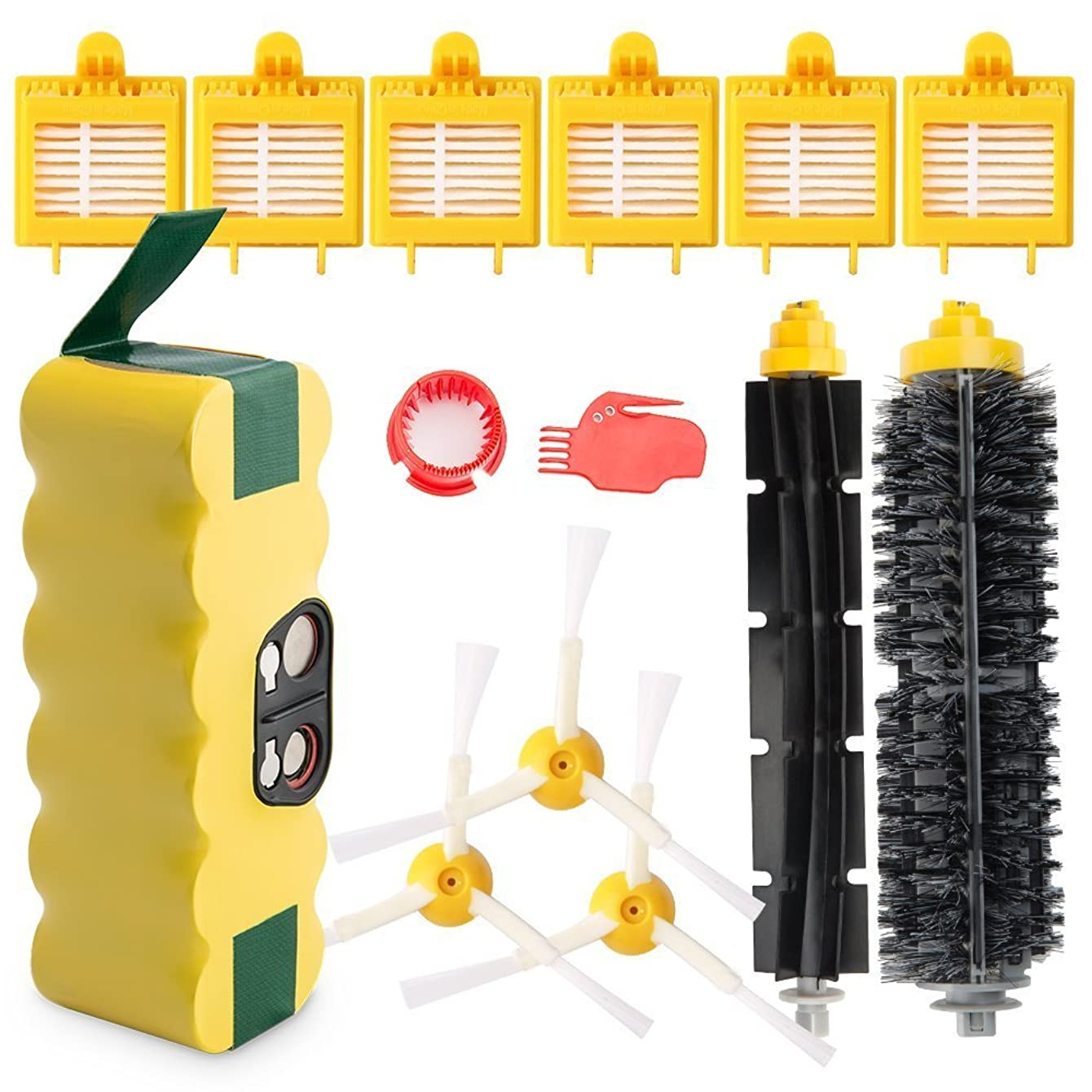 efluky 3.8Ah Ni-MH Replacement Roomba Battery + Replacement Accessory Part Kit for iRobot Roomba 700 Series 700 720 750 760 765 770 772 772e 774 775 776 776p 780 782 782e 785 786 786p 790- a set of 14