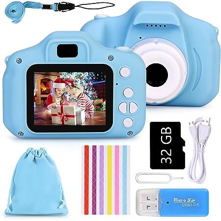 Faburo Macchina Digitale Bambini con Scheda SD 32 GB, Fotocamera Bambino Portatile Digital Camera Kids Videocamera Macchina Fotografica Regalo di Compleanno per Bambini(Blu)