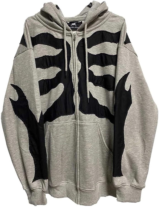 MEIbibibi Women's Dark Print Streetwear Gothic Boyfriend Fashion Outerwear Pockets Drawstring Hooded Jacket