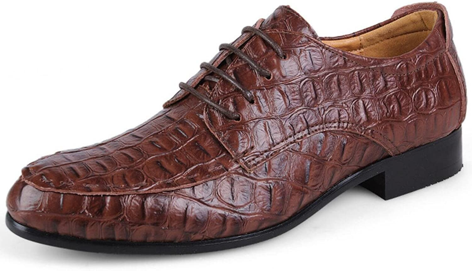 XWZG Men'S Derby Lace-Up shoes Classic Business shoes Made Of Leather Large Size Crocodile Pattern Large Size