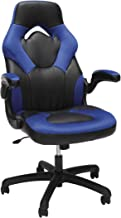 صندلی بازی چرمی مسابقه سبک Essentials - رایانه مفصل گردنده ارگونومیک ، دفتر یا صندلی بازی ، آبی (ESS-3085-BLU)