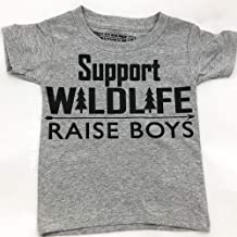 Support Wildlife Raise Boys, Funny Toddler Shirt for Boys, Youth Wildlife Tshirt, Grey, Size 3T