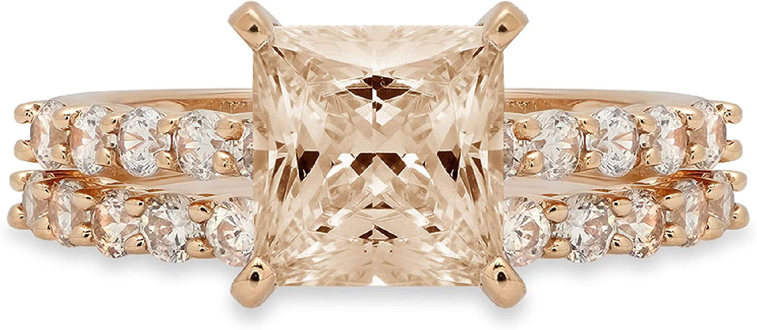 2.66ct Princess 高額売筋 Cut Pave Solitaire Simula Brown Champagne ランキング総合1位 Accent
