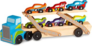 Melissa & Doug Mega Race-Car Carrier (Wooden Double Decker Trailer With 6 Unique Race Cars)
