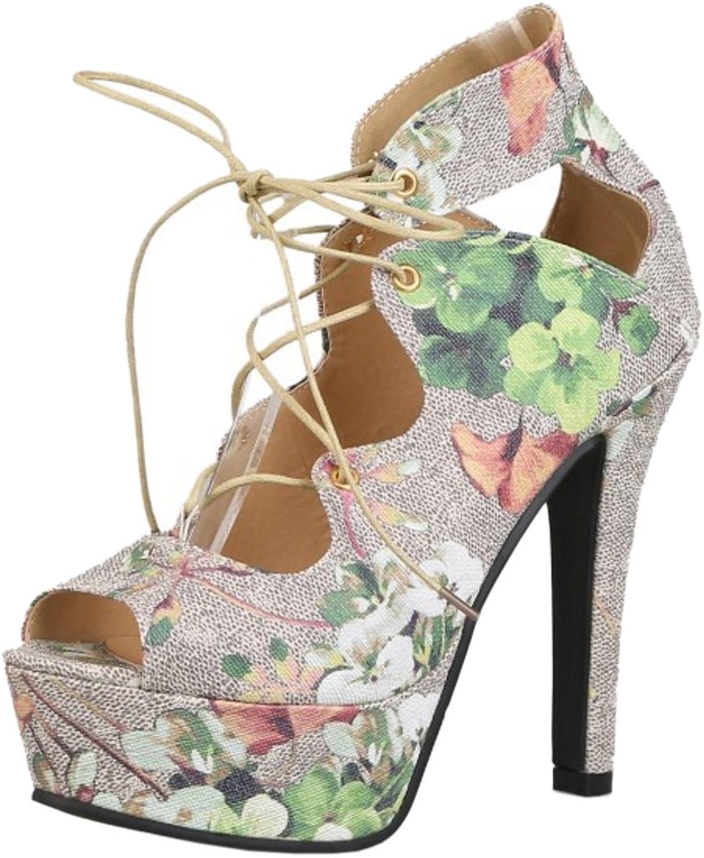 RizaBina Women Lace Up Flower Sandals Stiletto High Heel Platform Party shoes