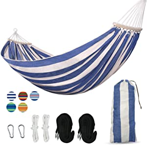 Yoyo Mori 2 Person Hammock with 450lb Laod Capacity,Portable Cotton Canvas Hammocks with Two Anti Roll Balance Beam,Sturdy Metal Knot and Carrying Bag for Travel Patio Garden,Blue White