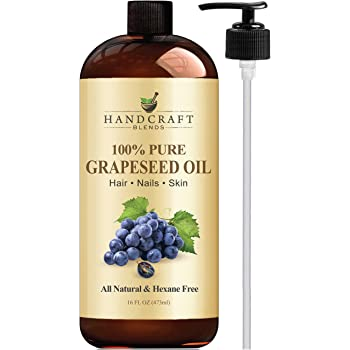 Handcraft Pure Grapeseed Oil - 100% Pure and Natural - Premium Therapeutic Grade Carrier Oil for Aromatherapy, Massage, Moisturizing Skin and Hair Huge - 16 oz - Packaging May Vary