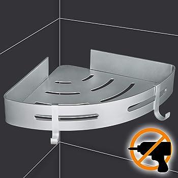 Yissvic Mensola Angolare per Bagno Mensola Doccia con 2 ganci in Lega di Alluminio Massima Portanza 10kg