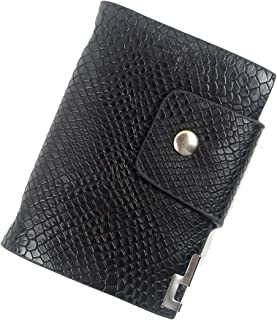 POPUCT Men's Snakeskin Texture Credit Card Holder Business Card Case Purse Wallet with 26 Card Slots