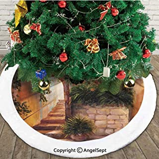 Stone Street Gate in an Old Town with Blooming Flowers Oil Painting,Fashion Christmas Tree Skirt,Dark Orange Dark Green,30 inches,for Party Holiday Decorations Indoor Outdoor