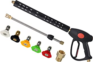 M MINGLE Replacement Pressure Washer Gun with Extension Wand, M22 15mm or M22 14mm Fitting, 5 Nozzle Tips, 40 Inch, 4000 PSI
